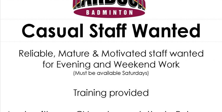 CASUAL STAFF WANTED