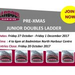 PRE-XMAS JUNIOR DOUBLES LADDER 2017