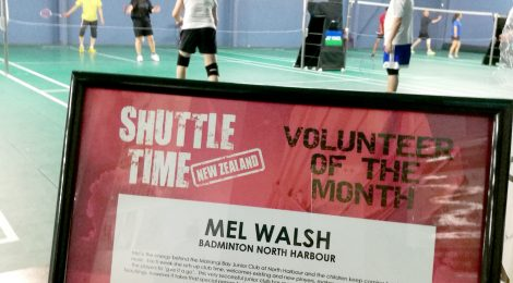 Congratulations to Mel Walsh - Recipient of the Shuttletime Volunteer of the Month Award